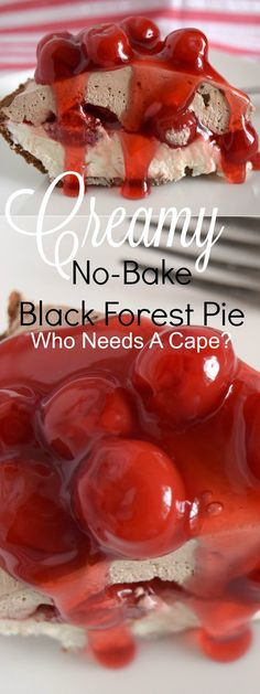 Need a cool dessert that's easy to make? Creamy No-Bake Black Forest Pie has layers of creamy deliciousness with cherry pie filling! So easy too! | Who Needs A Cape?