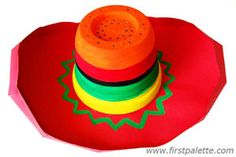 Sombrero, pot or bowl, trace oval for brim, fringe to attach to bowl and to form edge of brim