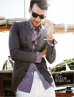 gingham shirt and blazer.