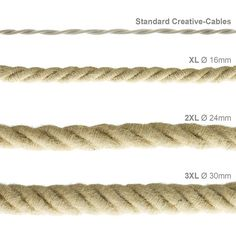 Fabric Covered XL electrical cord, electrical cable 3x0,75. Rough jute. Diameter 16mm.
