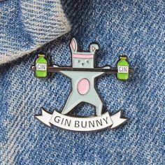 Gin Bunny Enamel Pin Badge Gin Pin Enamel Pin Enamel Badge
