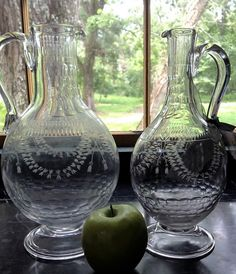 Rare matching 18th century wine and water carafes