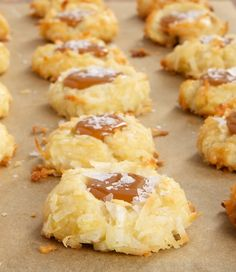 Coconut Salted Caramel Thumbprint Cookies are sweet coconut cookies filled with rich caramel and a sprinkling of salt. - Bake or Break