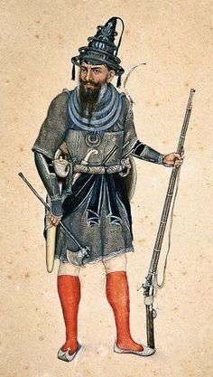 A Nihung Warrior, Sikh Kingdom era. Note his ram jangu (matchlock) and tabar (war-axe). Farmer Painting, Lion Live Wallpaper, Indian Sword, Warriors Wallpaper, Dance Paintings, War Of 1812, Army Uniform, Historical Art, Costume