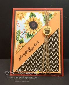 Painted Harvest Stamp Set, Painted Harvest designer paper, Jute Twine, Fall, Thanksgiving. See details at www.stampwithpeggy.com