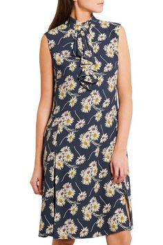 Prada - Ruffled Floral-print Crepe Dress - SALE20 at Checkout for an extra 20% off