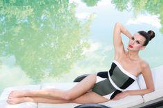 #jogswimwear #nature #greenery #bikini #girlsinbikini #swimwear #summer2016 #funinthesun #green #cuts #artonbody #outinthenature #lying down #geometrics #colourblocking
