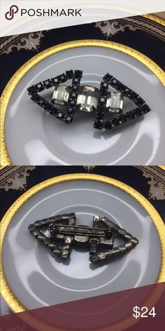"Vintage Art Deco Black & White Rhinestone Brooch This awesome Vintage Art Deco black and white crystal rhinestone brooch is in a silver-tone setting. Measures 2"" across x 3/4"". In excellent preowned condition. Vintage Jewelry Brooches"