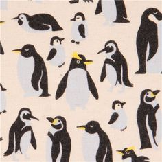 natural colored penguin Canvas fabric Kokka 1
