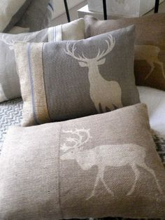 hand printed grey stag cushion by helkatdesign on Etsy Cerf Design, Stag Cushion, Sweet Home, Decoration Christmas, Cabins In The Woods, Pillow Talk, My New Room, Soft Furnishings, Cabana