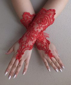 Red lace gloves French lace gloves long lace by WEDDINGGloves, $30.00