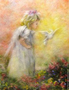 Купить или заказать Картина из шерсти Солнечный Ангел в интернет-магазине на Ярмарке Мастеров. Картина выполнена сухой шерстью на ткань под стекло. Окончательная цена на заказ зависит от размера и оформления. Оформление : просто накрыта оргстеклом и завернута в полиэтилен(если вы сами будете подбирать багет),или рама со стеклом, ее ширина, цвет, материал, или рама с оргстеклом-аналогично, все за дополнительную плату, считается индивидуально по запросу. По почте пересылает…