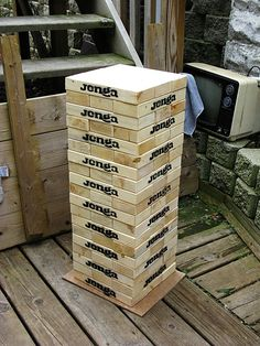 "Giant ""wooden block stacking game"" tower. To store...Also wanted to note that a rubbermaid or steralite container in the 75-80 litre size is perfect for storing these. I ended up buying a 57 litre container first and it was too small by about 10 pieces. Also the taller more square-ish containers are better than the real wide ones for moving it around. Even with just pine the set is easily 50+ lbs"