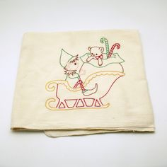 Vintage Kitchen Towel Flour Sack Pixie Elf Sleigh Christmas Towel by efinegifts on Etsy