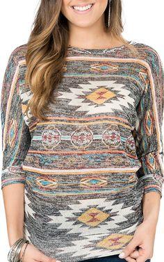 Derek Heart Women's Grey Multicolor Aztec Print 3/4 Dolman Sleeve Top   Cavender's