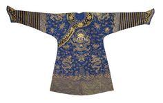 A blue-ground gauze dragon robe, jifu 19th century