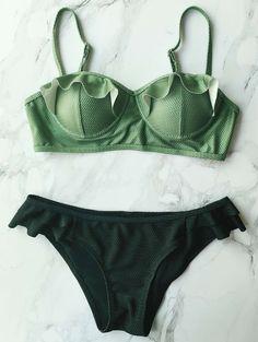 Cami Ruffles Push Up Bikini Set - BLACK S