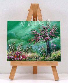 Tree In Bloom. 3x4 original miniature oil painting