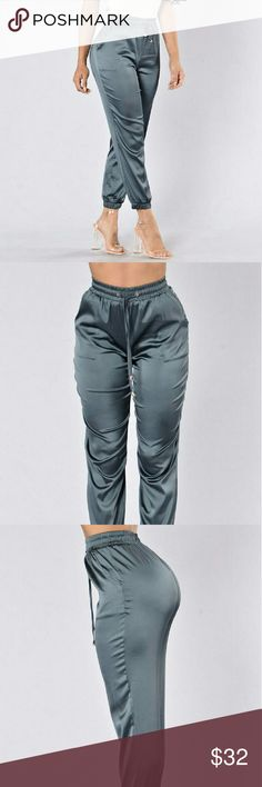 Fashion Nova Charcoal Joggers Available in Champagne and Grey  Satin Jogger Pants Side Pockets Elastic Waist Band with Drawstring Elastic Band Ankle 92% Polyester 8% Spandex Fashion Nova Pants Track Pants & Joggers