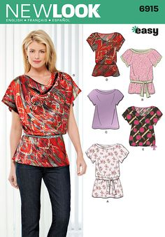 simple sewing for women   Sewing Pattern Tops Summer Blouses Women Girls New Look Simplicity ...