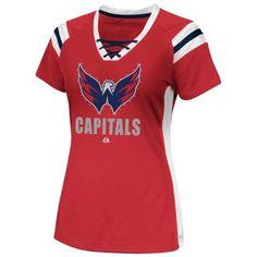 Majestic Washington Capitals Ladies Puck Princess Shimmer Top - Red