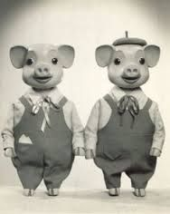 They live like pigs don't they? Who Do? Pinky and Perky UK Kids TV Circa 1950/60s