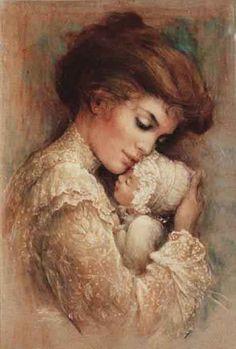 Brenda Burke - just beautiful - Mother and child Illustration Art, Illustrations, Victorian Art, Victorian Ladies, Vintage Ladies, Fine Art, Mothers Love, Mother And Child, Vintage Pictures