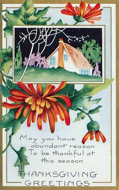Vintage Thanksgiving Card Art Deco from The New York Public Libraries collection