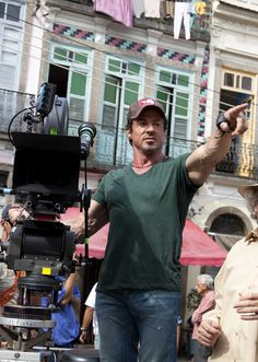 Sylvester Stallone on the set of The Expendables