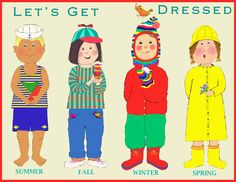 Child's poster or print for kid's room. Poster showing children dressed for  the four seasons; summer, fall, winter, spring.