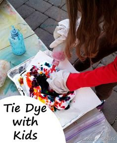 Kids LOVE Tie dying! It's an interesting way to explore color and fiber art.