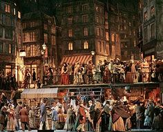 Franco Zeffirelli's Parisian street scene from Act II of Puccini's La Bohème at The Met. Over 200 extras are on stage for this scene. This production has been around for at least 40 years and I do not think The Met will ever retire it. Opera Music, Opera Singers, Paris At Night, Old Paris, Metropolitan Opera, Virtual Museum, Concert Hall, Paris Street, Set Design