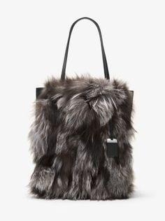 Michael Kors Eleanor Large Fox Fur and Leather Tote Michael Kors Tote, Handbags Michael Kors, Purses And Handbags, Tote Handbags, Fur Bag, Michael Kors Collection, Vintage Purses, Black Tote Bag, Fox Fur