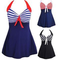 edaedefe7 Sexy Plus Size Stripe Padded Halter Skirt Swimwear Women One Piece Suits Swimsuit  Beachwear Bathing Suit Swimwear Dress M To 4XL-in One-Piece Suits from ...
