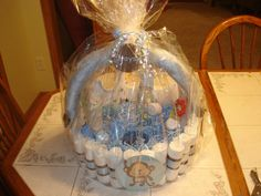 Diaper basket instead of diaper cake. I will have a baby shower to go to soon too!
