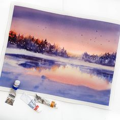 "Polubienia: 2,251, komentarze: 23 – WATERCOLOR  АКВАРЕЛЬ  МК (@nadja.leutloff) na Instagramie: ""Watercolor. Arches 300gr.  Hallo liebe Freunde, heute ist der 1 März. Ist nun bald Frühling?…"""