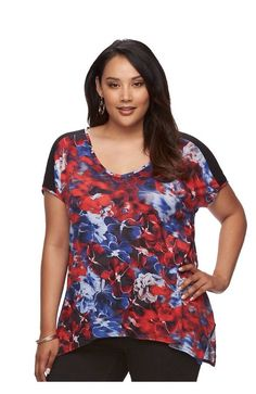 3c8f26605ff NWT JENNIFER LOPEZ Women Plus Size 1X Floral Shark bite Hem Tee T-Shirt Knit
