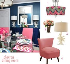 Chevron Dining Room in Pink and Navy
