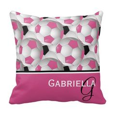 An eye-catching throw pillow with a stylish football soccer ball design featuring a pattern of black and white and pink and white soccer balls with accents in coordinating pink, black and white with customizable text for your monogram initial and name.