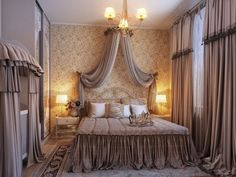Decorating Ideas. Romantic Room Decorations. Romantic Brown Bedroom Design with Elegant Crown Canopy Bed Set, Bedside Golden Shade Square Nightstands with Modern Table Lamp, Big Decorative Sliding Doors Wardrobe and Baby Crib Covered in Brown Fabric Veil plus Wonderful Floral Patterns Wallpaper