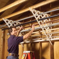 Plastic lattice works well in the garage for storing long lengths of miscellaneous pipe, trim, flashing and conduit. Just cut matching pieces, then screw 2x4 cleats to the ceiling and screw the lattice to the wall studs and cleats. Now you can quickly find those oddball leftovers instead of going to the hardware store and buying yet another piece.