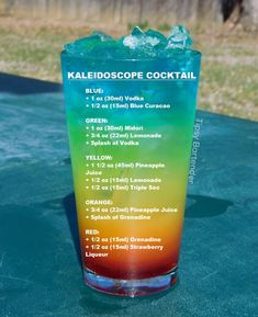 Kaleidoscope cocktail Kaleidoscope cocktail - Food and Drink Mixed Drinks Alcohol, Alcohol Drink Recipes, Punch Recipes, Easy Mixed Drinks, Shot Recipes, Liquor Drinks, Cocktail Drinks, Bartender Drinks, Tipsy Bartender