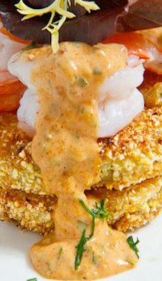 Gluten Free Fried Green Tomatoes with Shrimp Remoulade