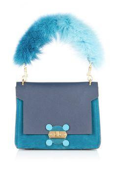 ANYA HINDMARCH Blue Bathurst X Bag With Fox Fur Handle. #anyahindmarch #bags #shoulder bags #hand bags #fur #