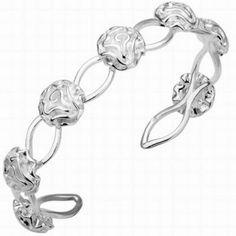 BRACELETE COM ROSINHAS - Bracelete ajustável com sete rosinhas. Tamanho: 1,3cm de largura. Joia com banho de Prata 925. Só R$ 44,00!!