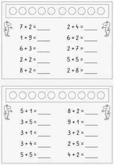 addieren im ZR bis 10 : Lernstübchen: addieren im ZR bis 10 English Worksheets For Kids, Addition Worksheets, Math Addition, Simple Addition, Kindergarten Math Worksheets, Preschool Math, Math Activities, Special Education Math, First Grade Math