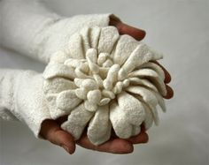Felted Brooch - Hand felted Dahlia Flower Brooch - White Gift guide