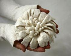 Hand felted Dahlia Flower Brooch