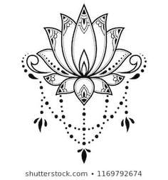 Mehndi lotus flower pattern for henna drawing and tattoo. - Mehndi lotus flower pattern for henna drawing and tattoo. Design Tattoo, Flower Tattoo Designs, Mehndi Designs, Henna Kunst, Henna Art, Henna Tattoos, Script Tattoos, Arabic Tattoos, Lotus Tattoo