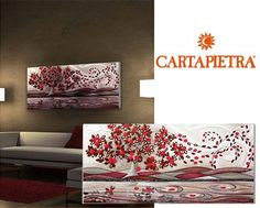 Quadro #Cartapietra raffigurante le foglie al vento rosse.  bit.ly/1e4ZImJ #Quadri #Casa #Arredo #Italy